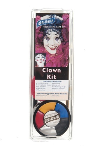 Click Here to buy Deluxe Clown Face Makeup Kit from HalloweenCostumes, USA Funds & Shipping
