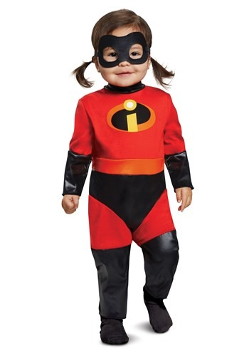 Click Here to buy Incredibles 2: Baby Violet Jumpsuit Costume with Skirt from HalloweenCostumes, CDN Funds
