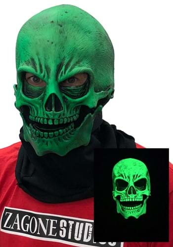 Image of UV Green Glow Skull Mask for Adults