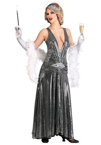 Silver Evening Flapper Costume for Women