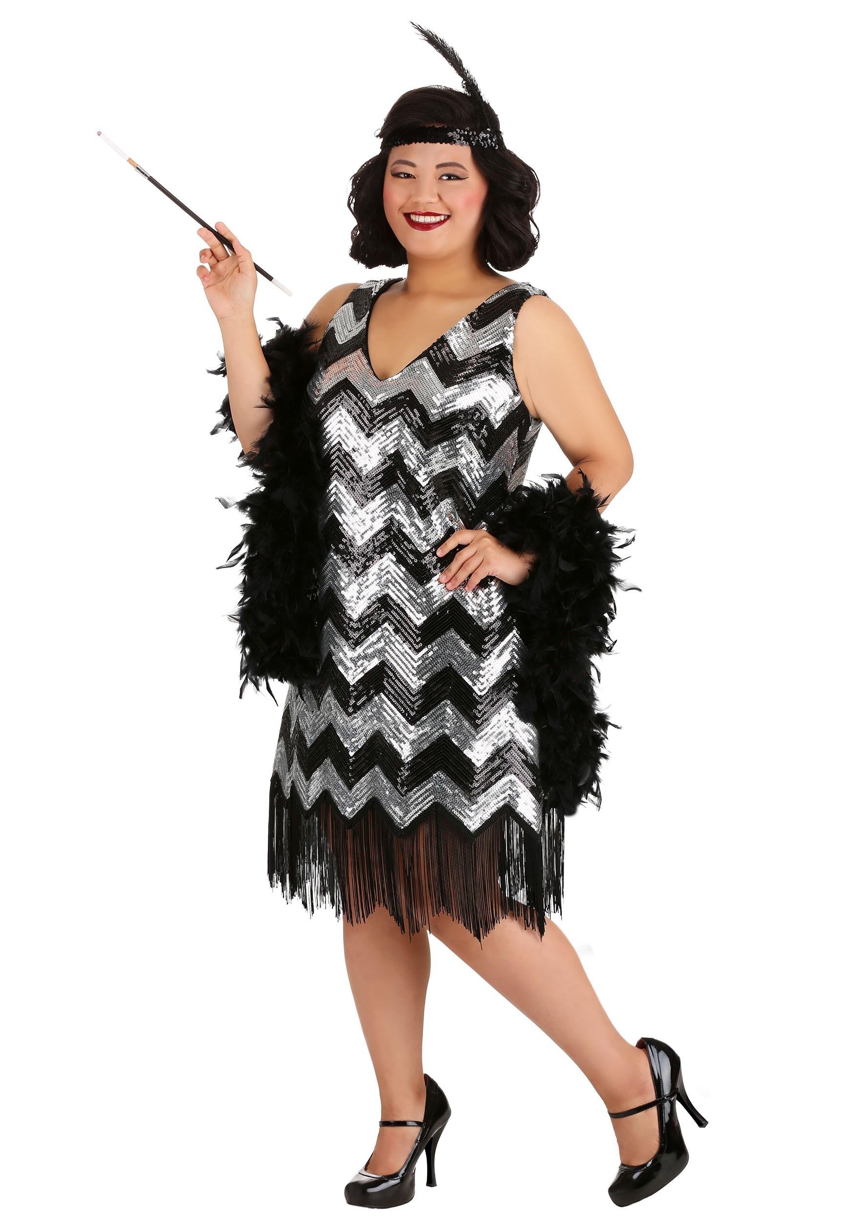 Women\'s Plus Size Silver and Black Fringe Flapper Dress