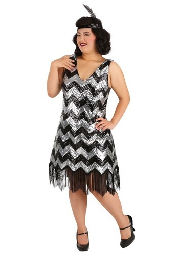 Womens Plus Size Silver and Black Fringe Flapper Dress