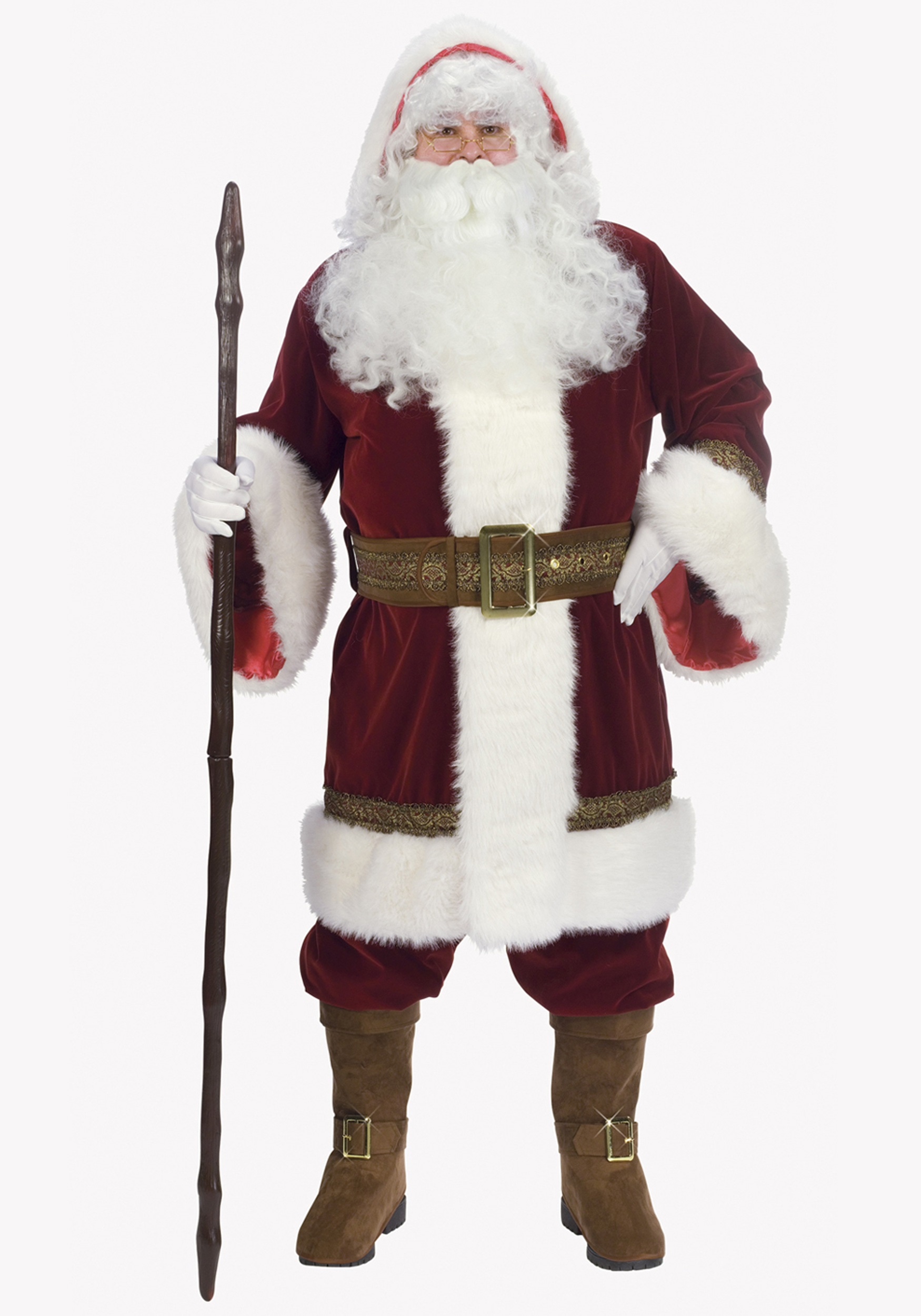 deluxe old time santa costume. Black Bedroom Furniture Sets. Home Design Ideas