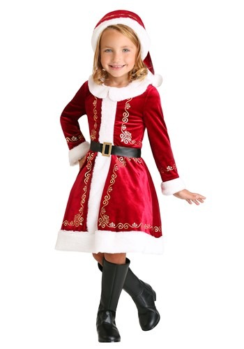Click Here to buy Toddler Girls Santa Dress Costume from HalloweenCostumes, CDN Funds