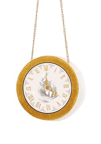 This exclusive Women's White Rabbit Clock Purse is the perfect accessory for your Alice costume! Head to the mad tea party and don't be late! #purse