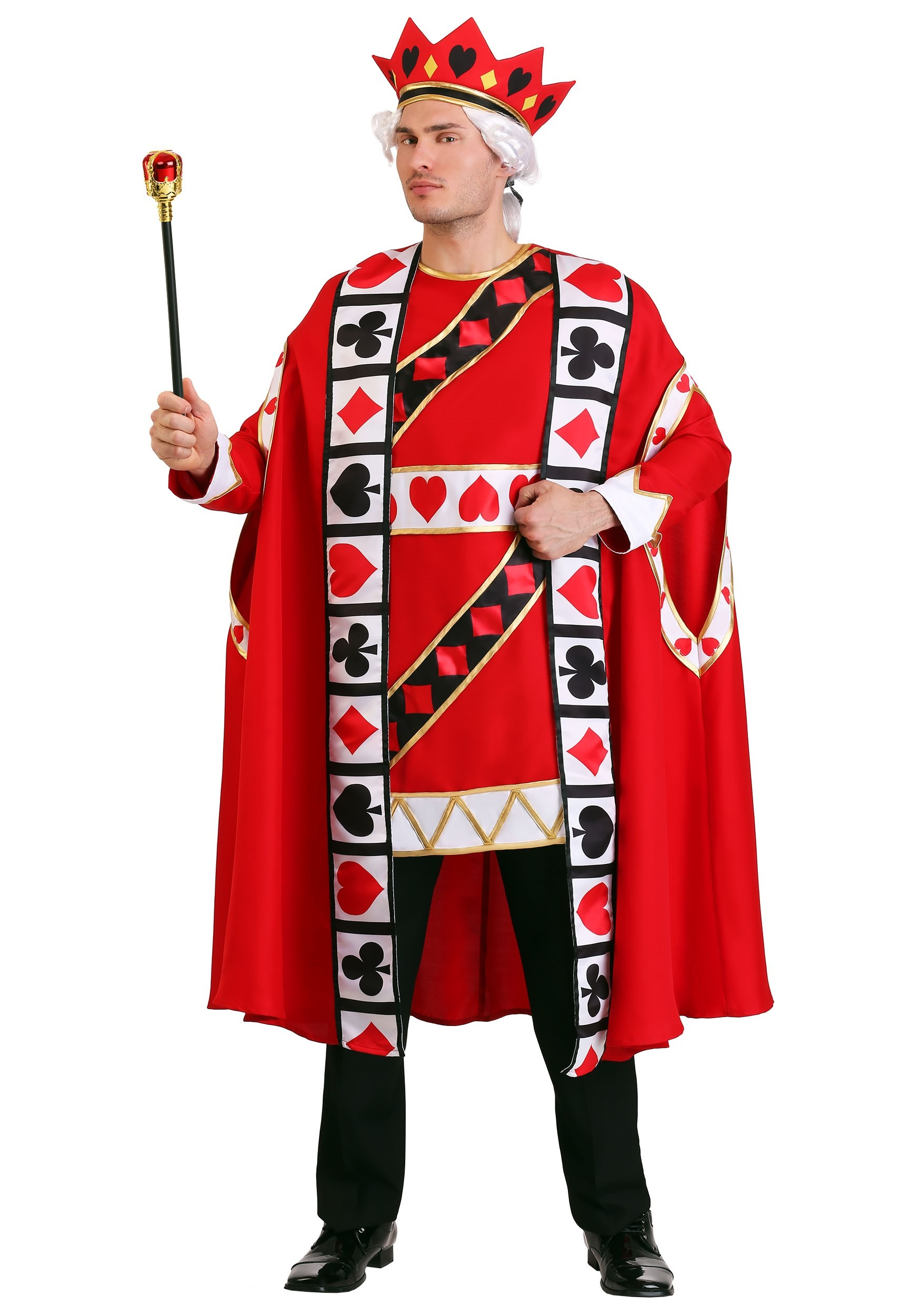 Men's King of Hearts Plus Size Tunic and Hat Costumes - DeluxeAdultCostumes.com