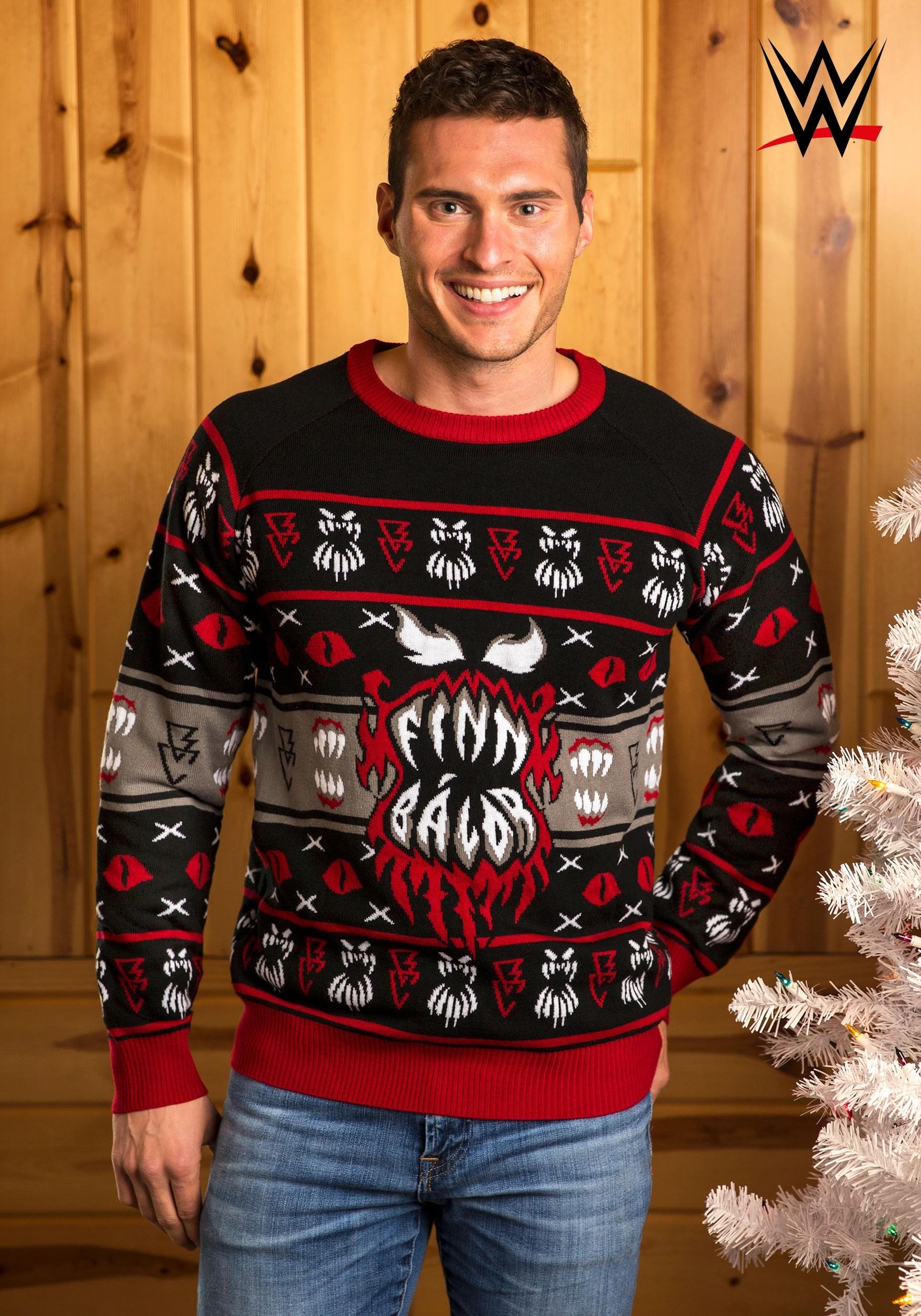 Christmas Cardigan Sweaters.Wwe Finn Balor Ugly Christmas Sweater