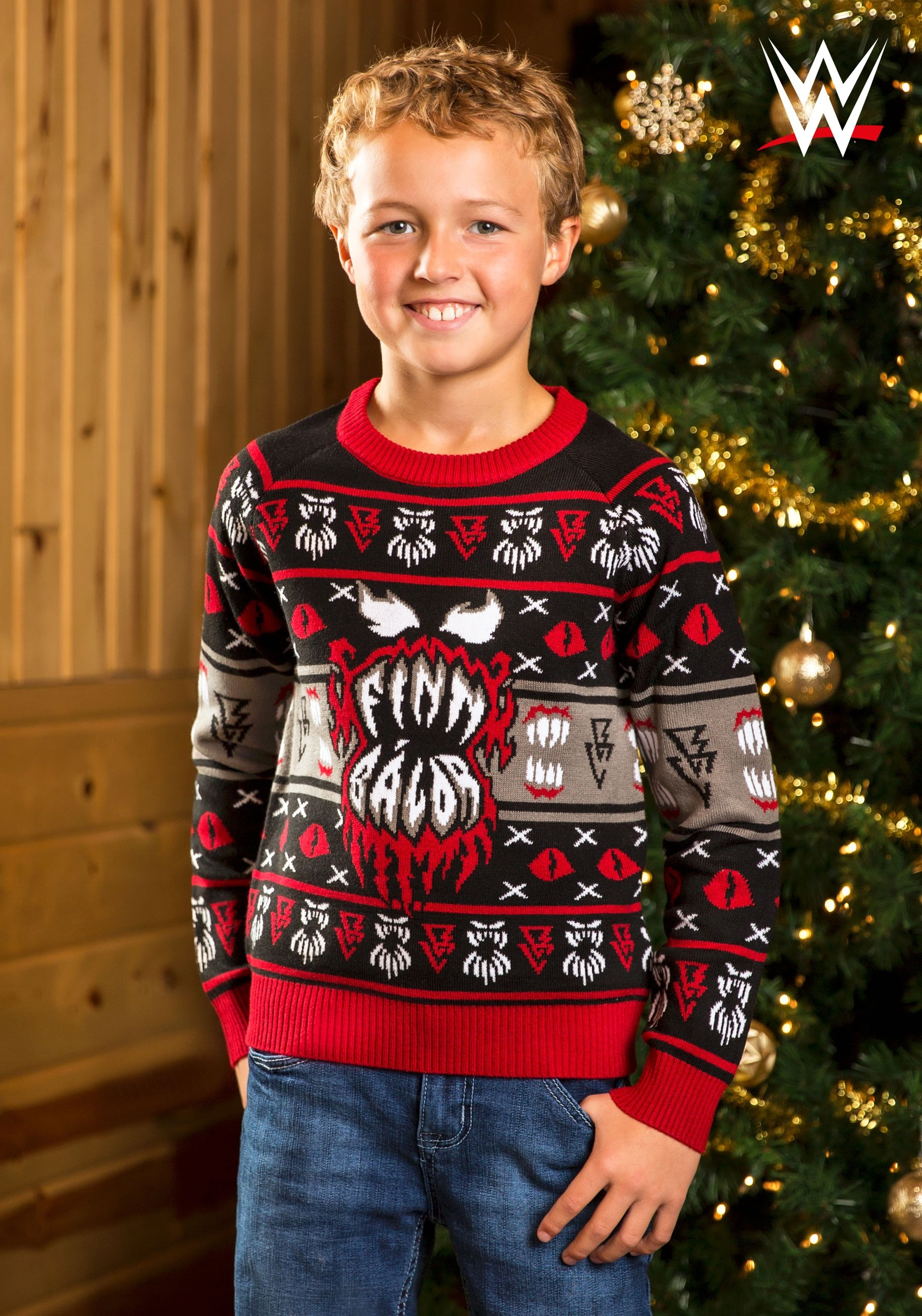 Ugly Christmas Sweaters.Wwe Kid S Finn Balor Ugly Christmas Sweater