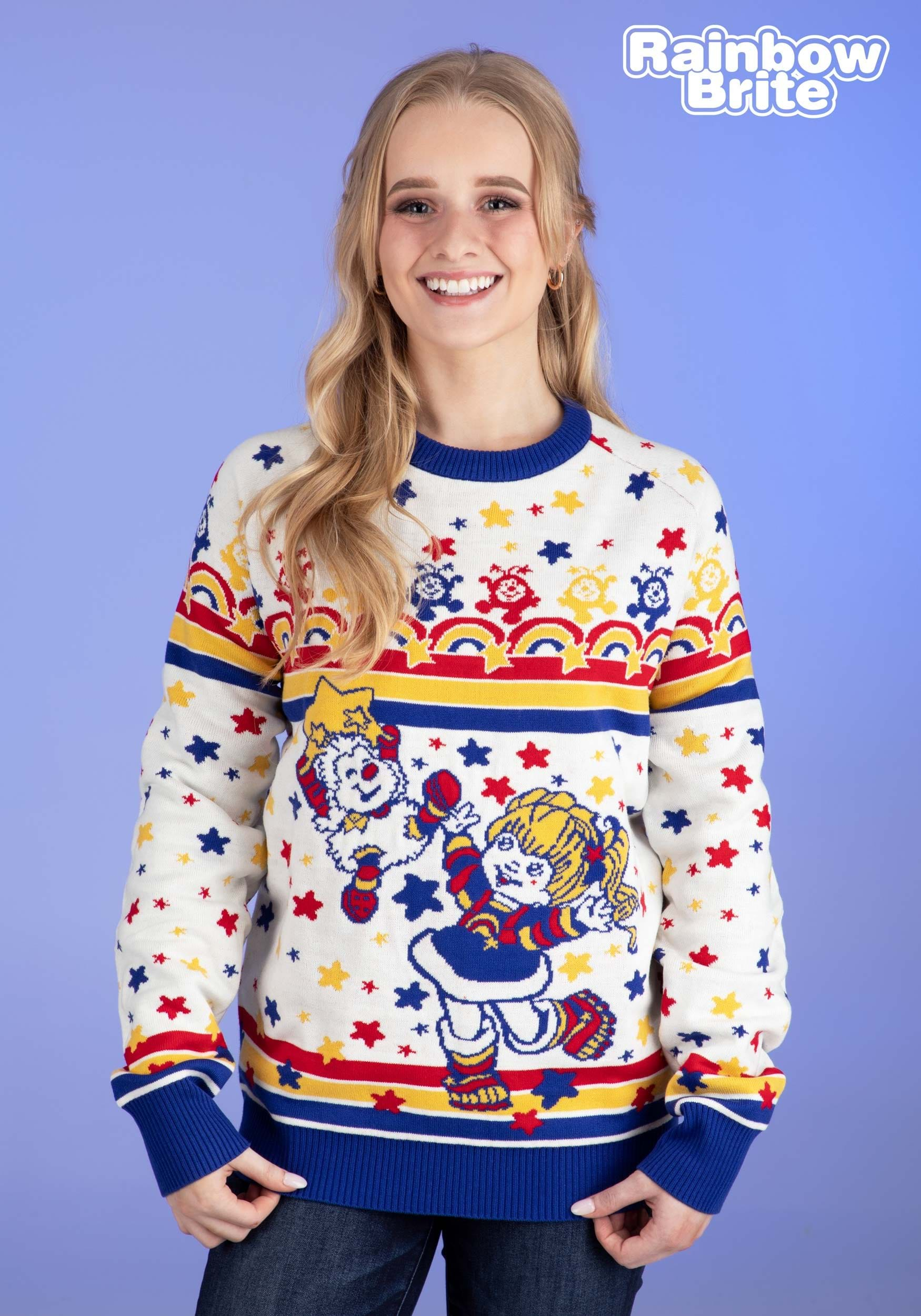 62e518f9b1f Classic Rainbow Brite Adult Ugly Christmas Sweater Update Ma