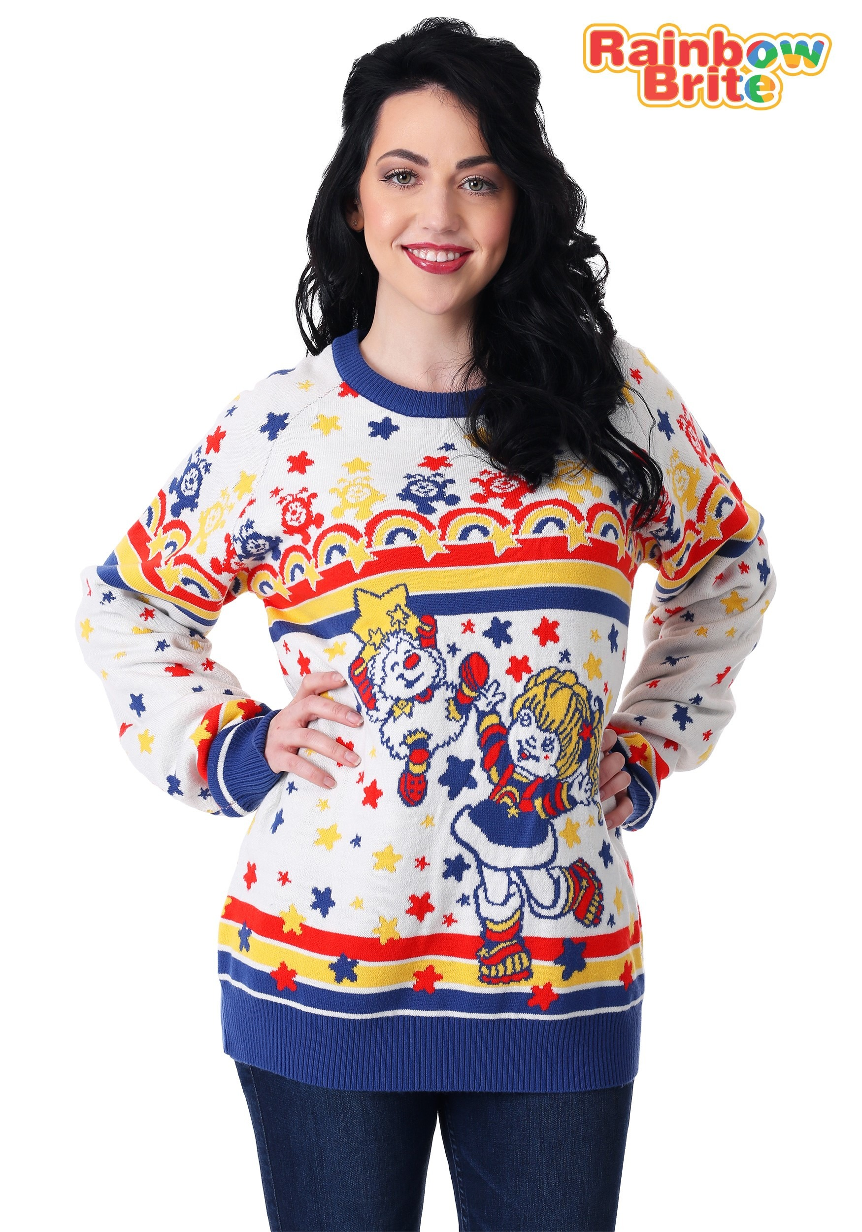 271b45fb695 ... Classic Rainbow Brite Adult Ugly Christmas Sweater Alt