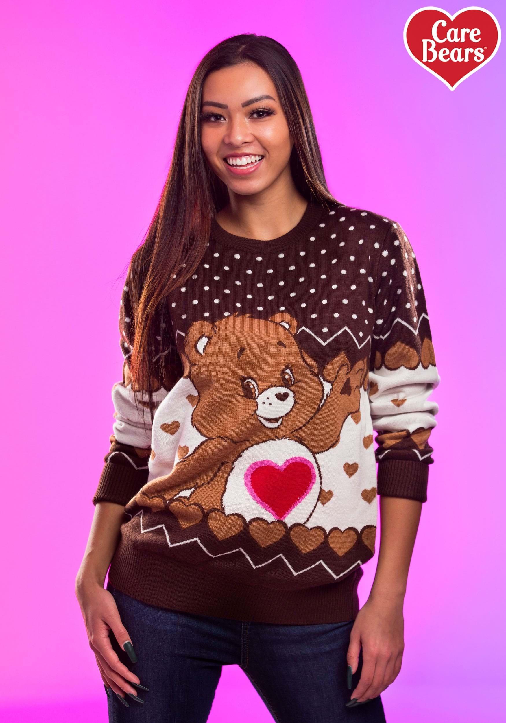 3x Ugly Christmas Sweater.Tenderheart Bear Adult Care Bears Ugly Christmas Sweater
