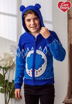 Child Care Bears Grumpy Bear Zip Up Knit Sweater-1
