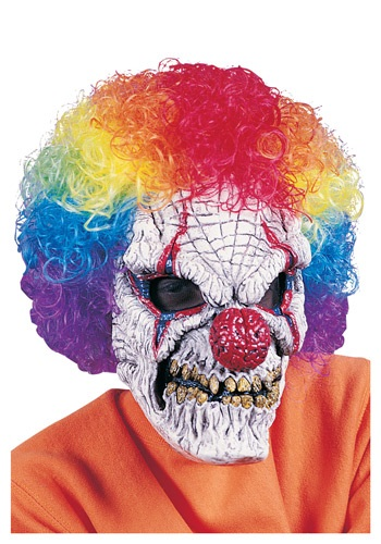 Adult Clown Mask with Wig By: Fun World for the 2015 Costume season.
