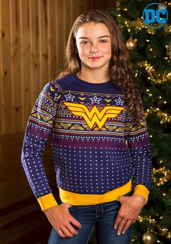 Kid's Wonder Woman Navy Ugly Christmas Sweater Update