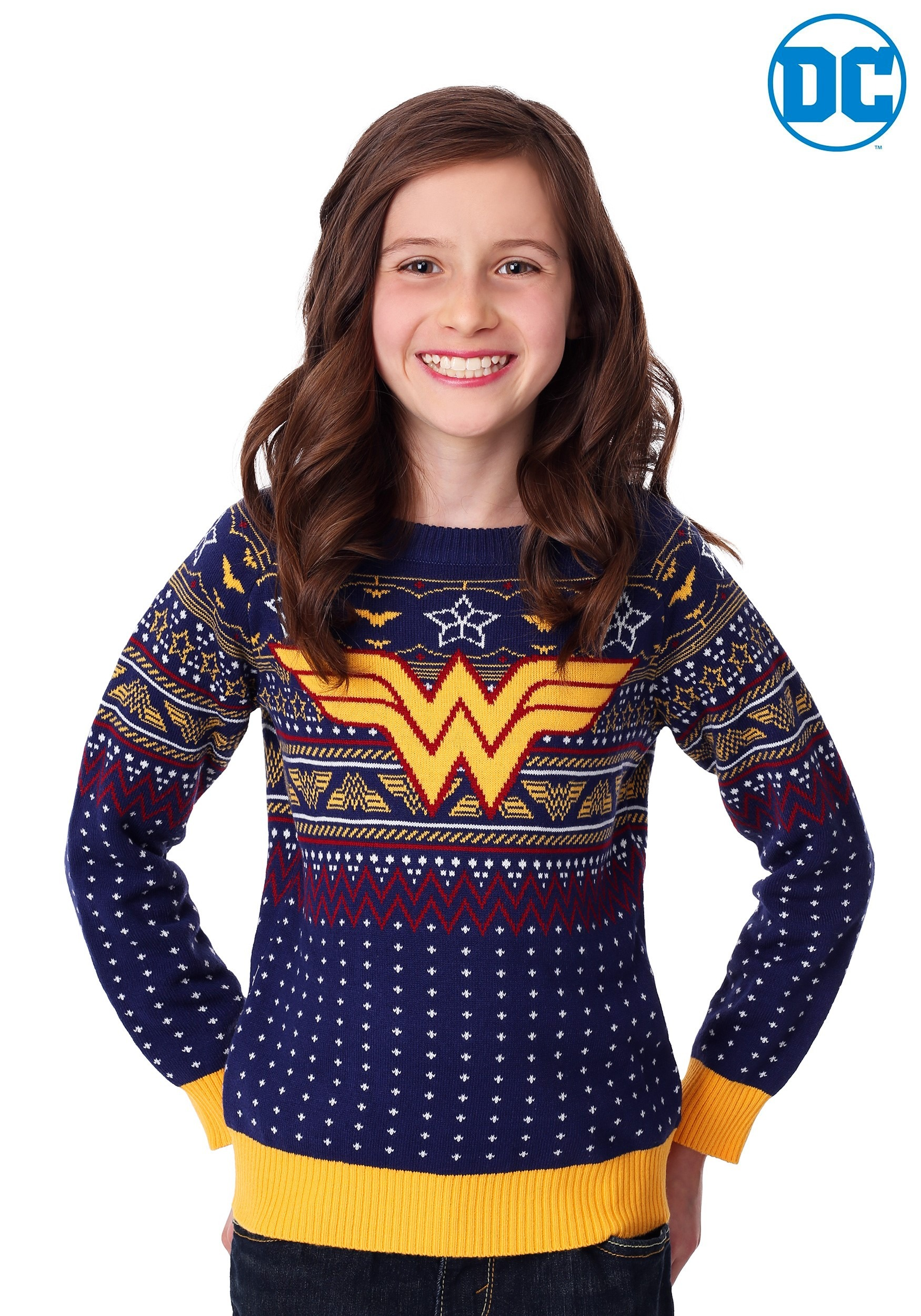 Kids Wonder Woman Navy Ugly Christmas Sweater