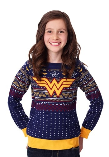 Wonder Woman Navy Ugly Christmas Sweater for Kids