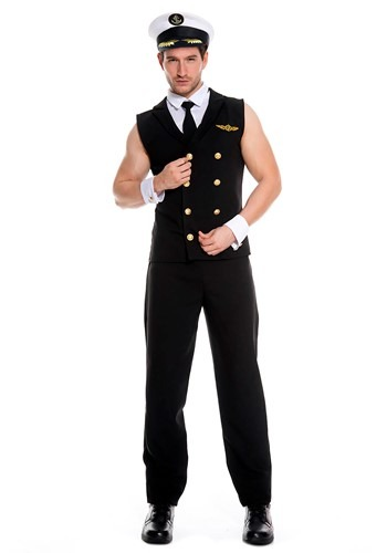 Mens Sexy Airline Pilot Costume