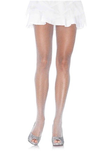 Click Here to buy Womens White Shimmer Fishnet Tights from HalloweenCostumes, CDN Funds