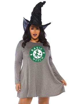 Plus Size Basic Witch Jersey Dress