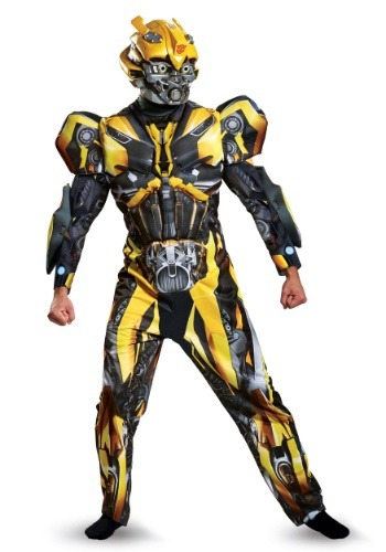 Click Here to buy Adult Transformers 5 Deluxe Bumblebee Costume from HalloweenCostumes, CDN Funds