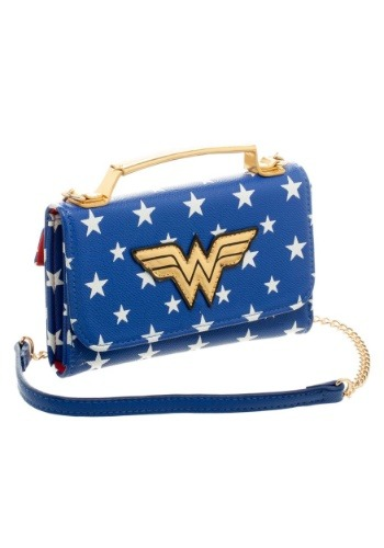 Click Here to buy DC Comics Wonder Woman Inside Out Cross Body Wallet Clutch from HalloweenCostumes, CDN Funds