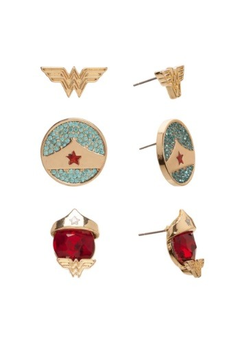 DC Comics Wonder Woman 3 Pair Stud Earrings