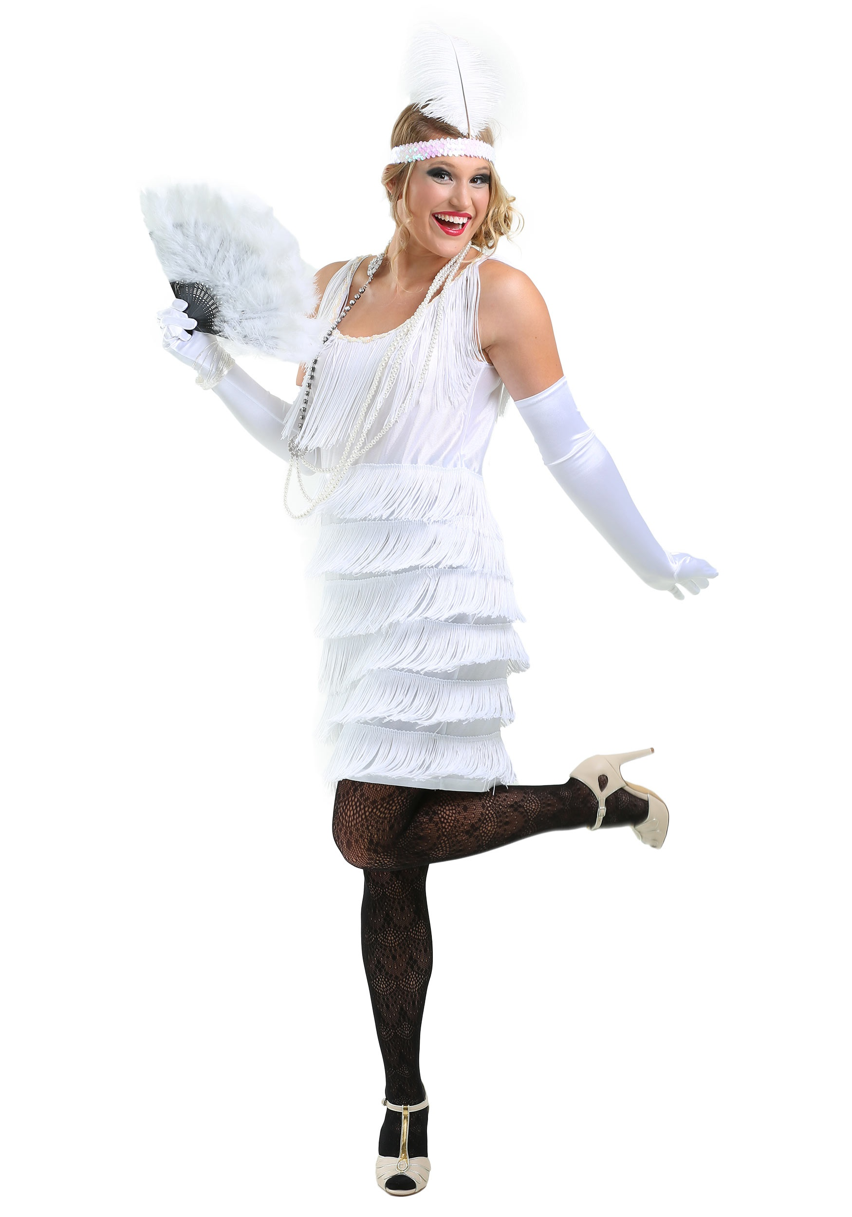 Long White Flapper Dress