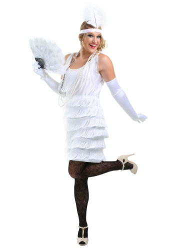 Click Here to buy White Flapper Girl Costume from HalloweenCostumes, USA Funds & Shipping