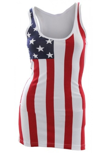 Women's USA Flag Long Tank Top