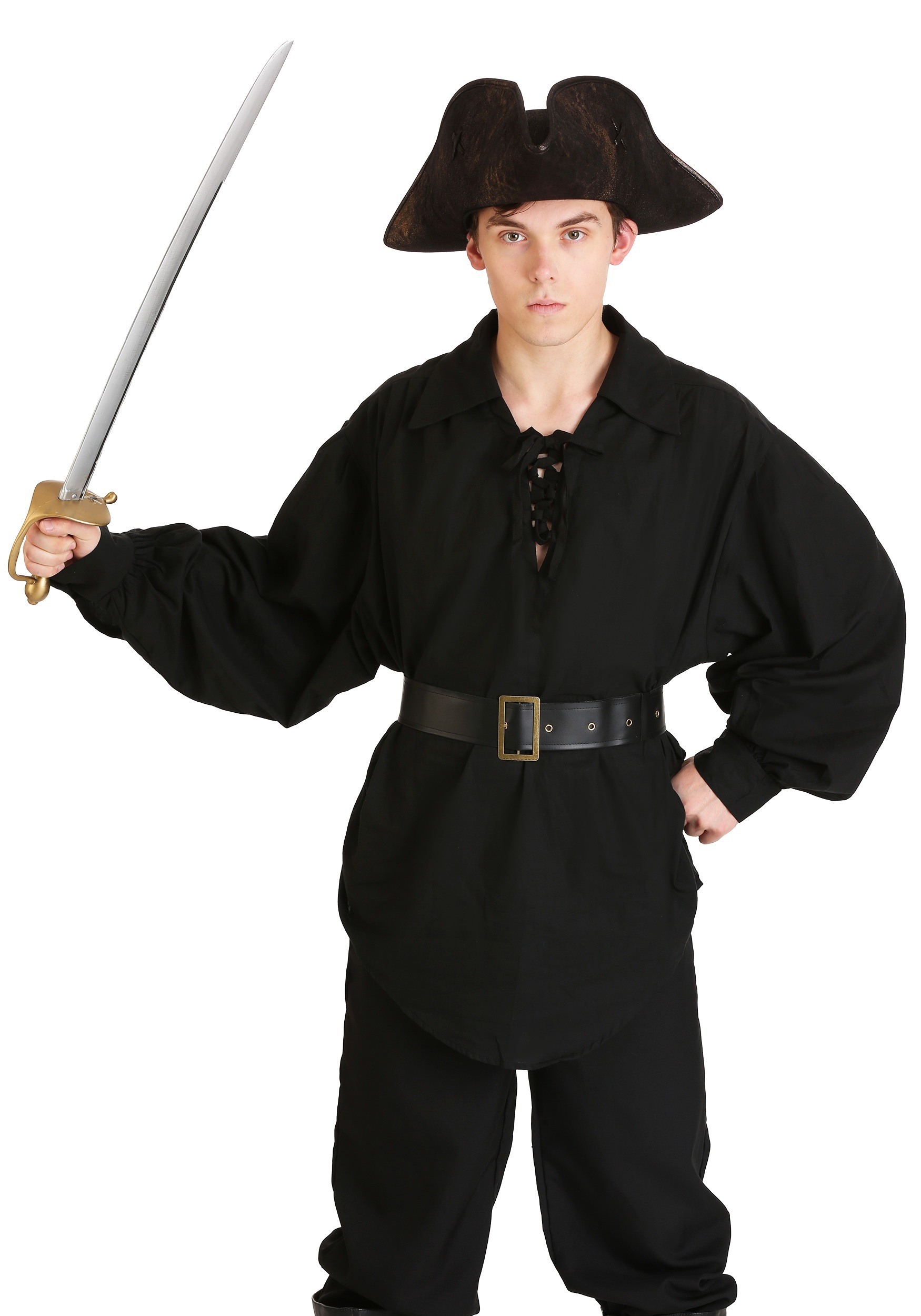 Pirate Buccaneer Renaissance Medieval Costume Shirt and belt Black