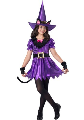 Girls Kitty Kat Witch Costume