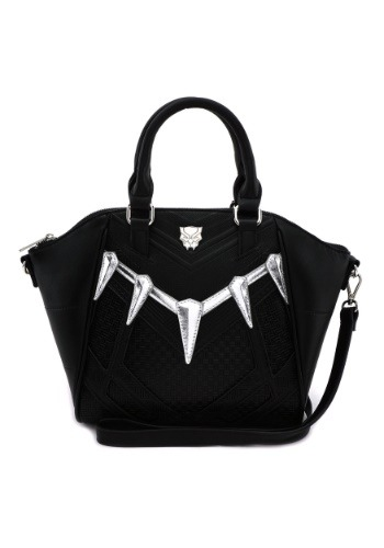 The Black Panther black faux leather handbag features claws in a metallic silver applique. Black Panther logo. An adjustable and detachable cross-body long strap is an additional feature. Standard size and zipper closure. #purse