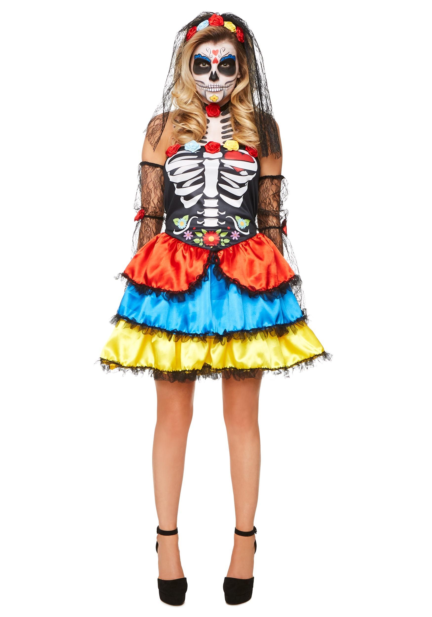 Ladies Day of the Dead Sugar Skull Senorita Mask Veil Halloween Accessory Kit