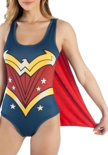 Click Here to buy DC Comics Wonder Woman Costume Bodysuit with Cape from HalloweenCostumes, CDN Funds