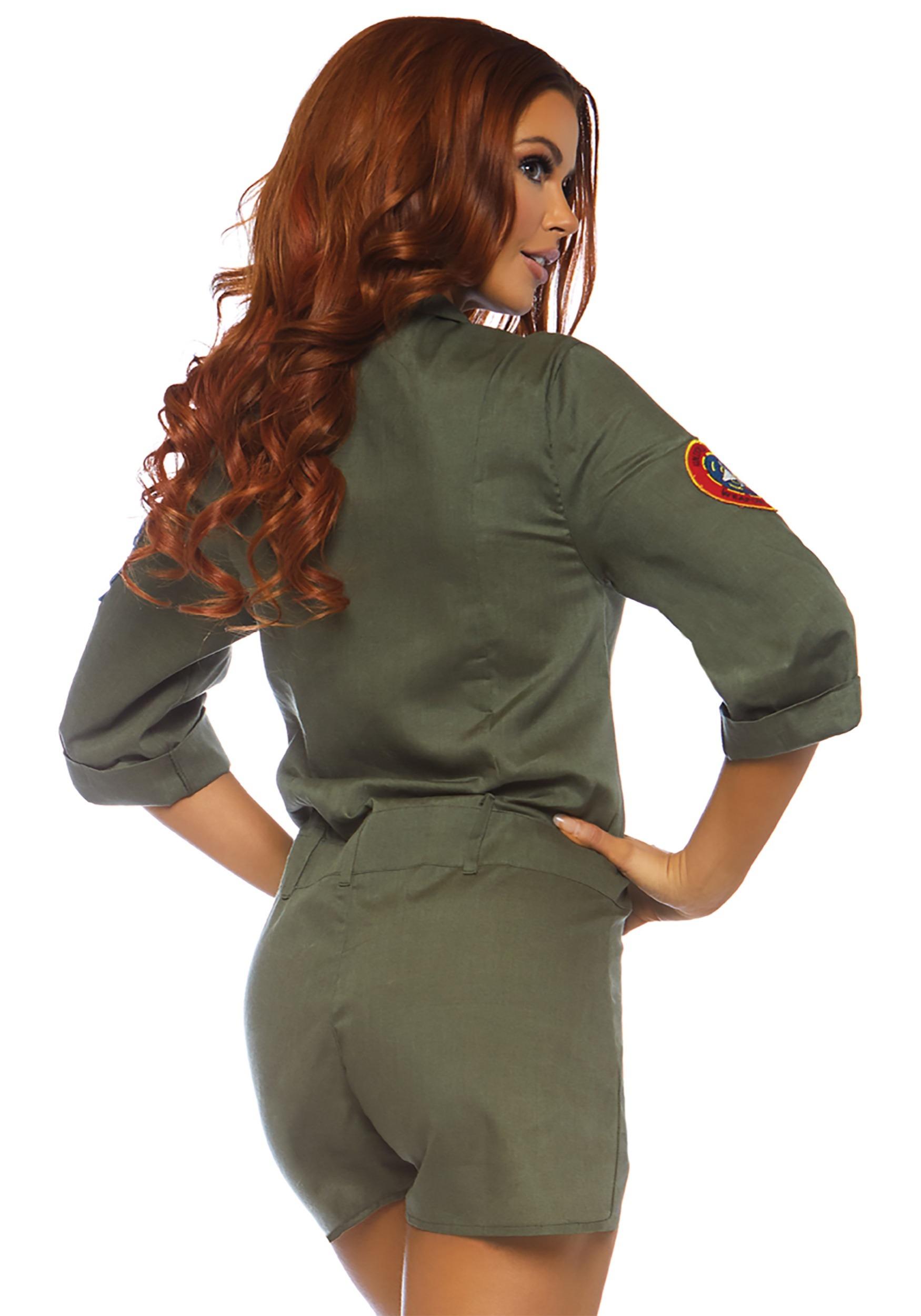 Women S Top Gun Flight Suit Costume Romper