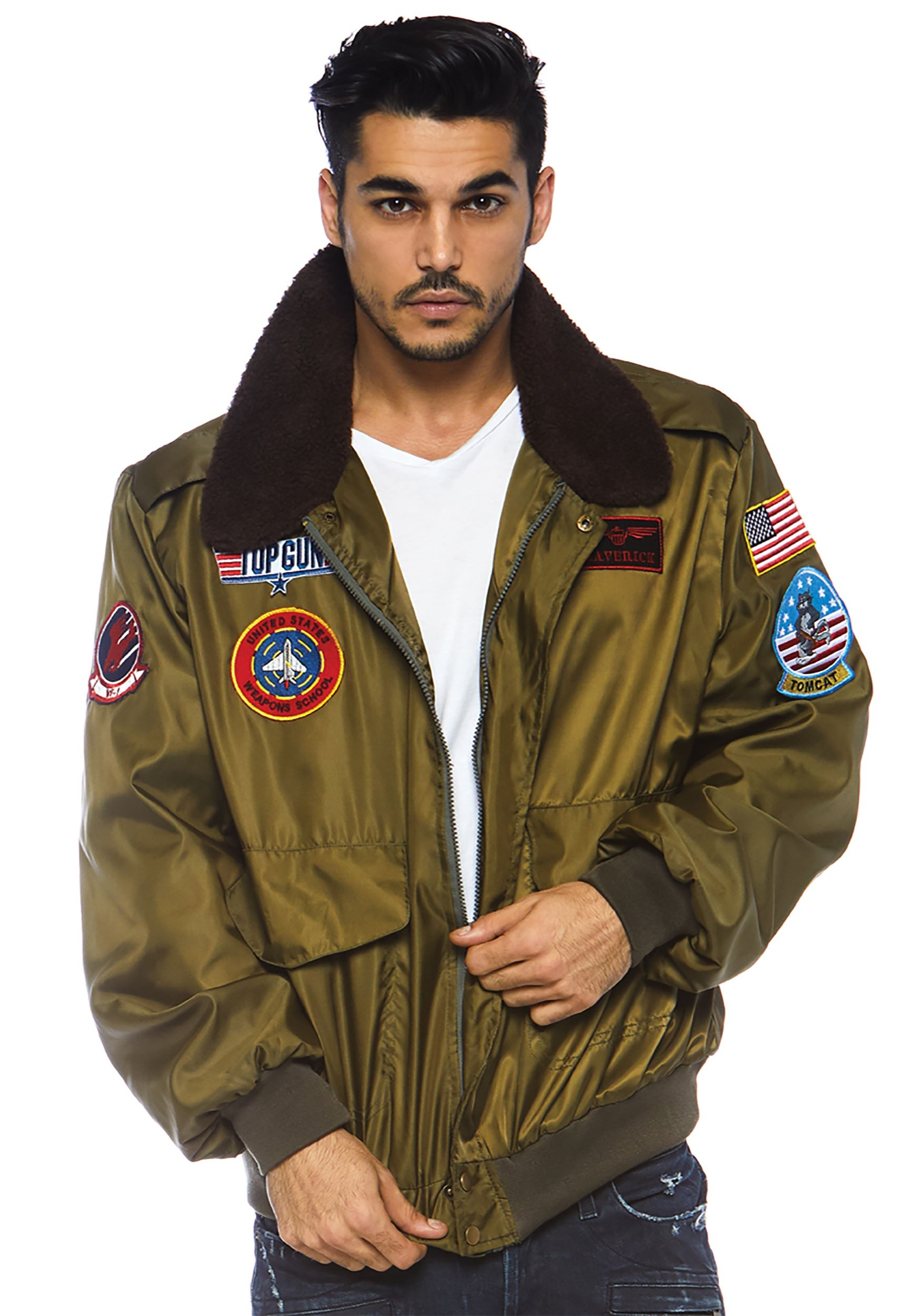 Top Gun Nylon Bomber Costume Jacket For Men