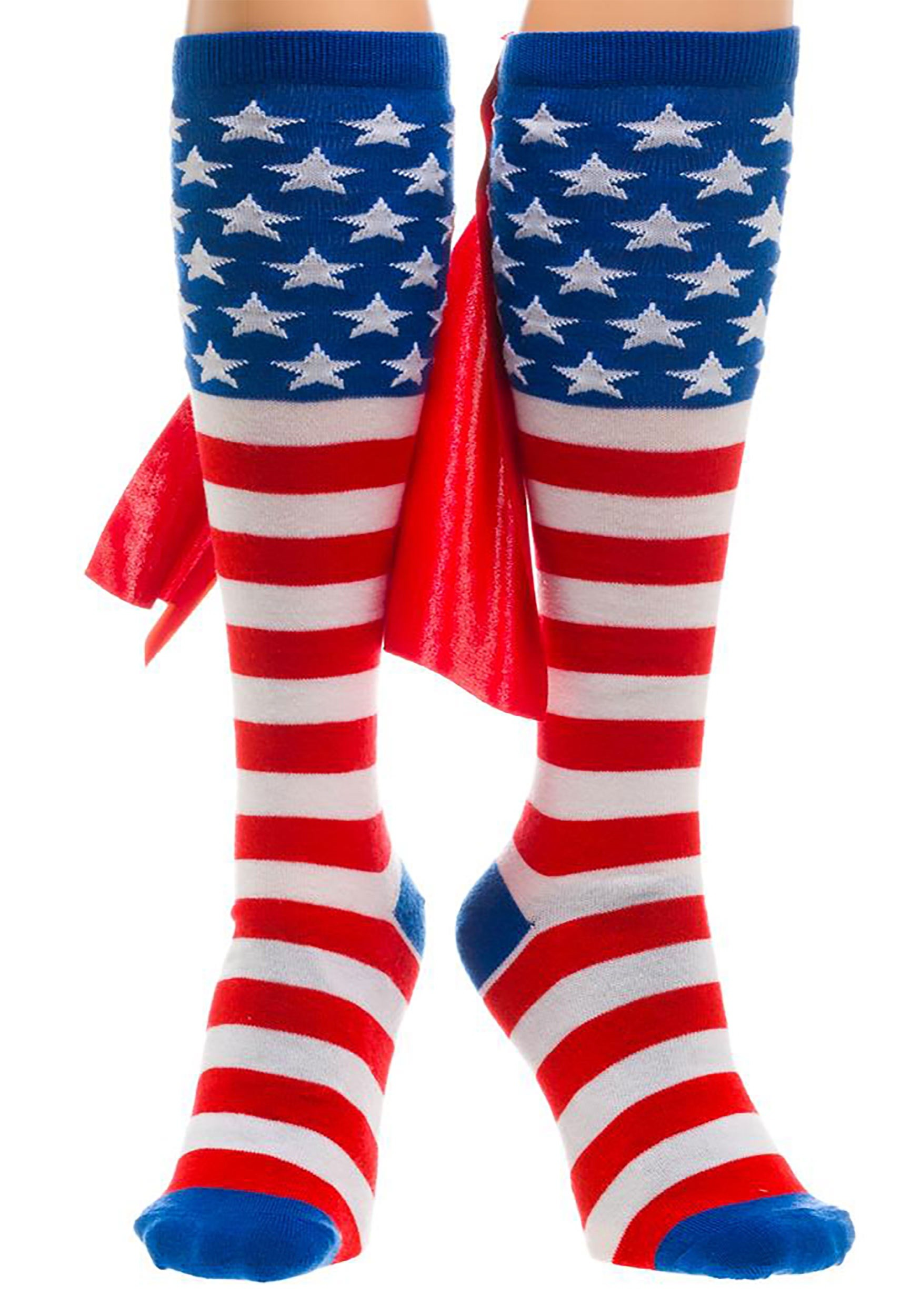 aca183cba49 American Flag Knee High Cape Adult Socks