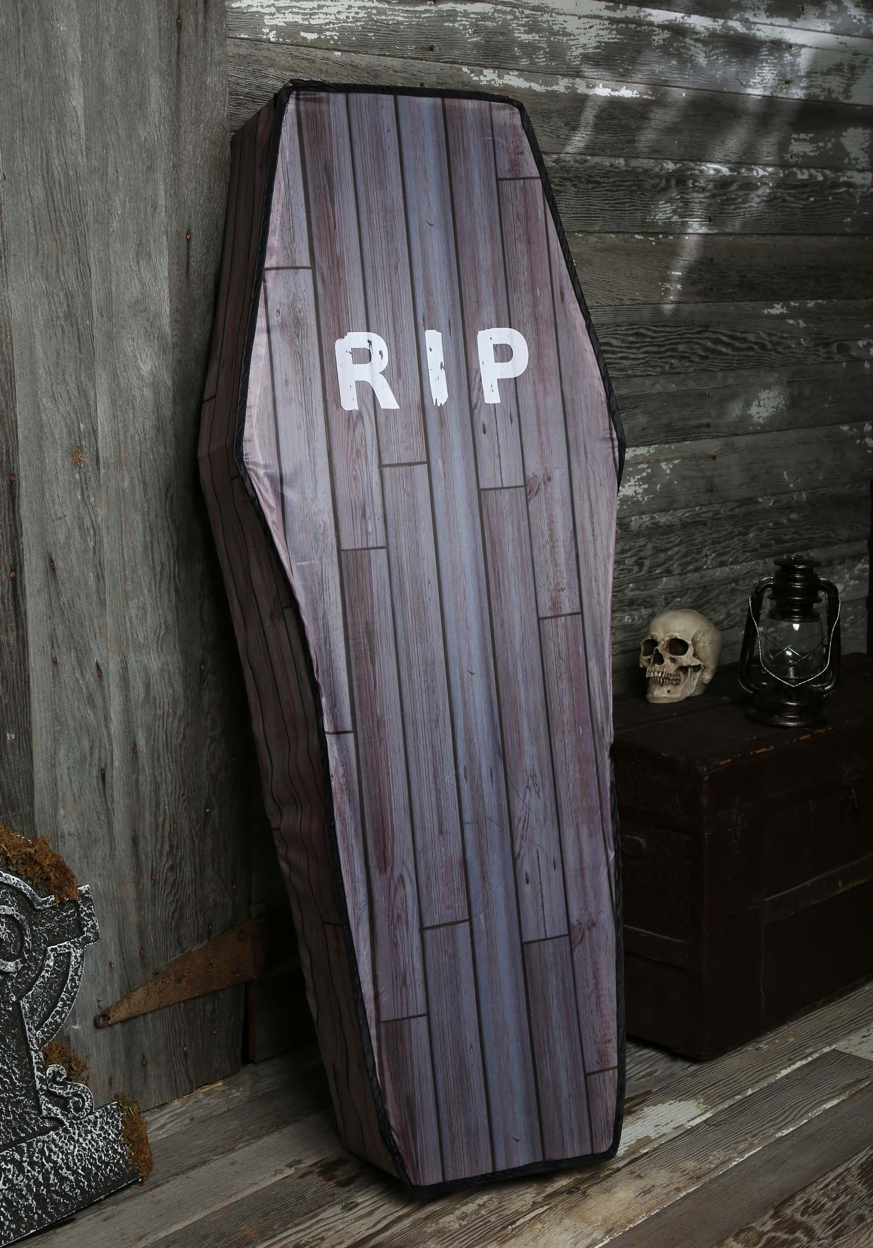 5 foot collapsible wood grain look coffin