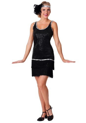 Sequin & Fringe Black Flapper Womens Costume Dress
