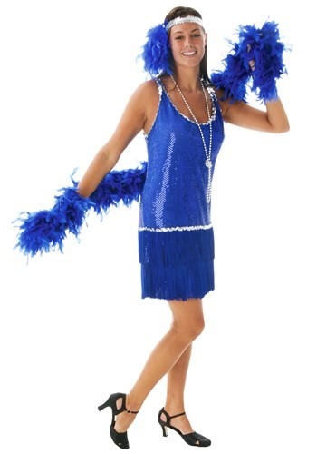 Royal Blue Sequin & Fringe Flapper Dress Costume Main Update