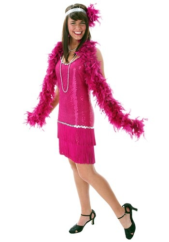 Fringe Fuchsia Flapper Dress