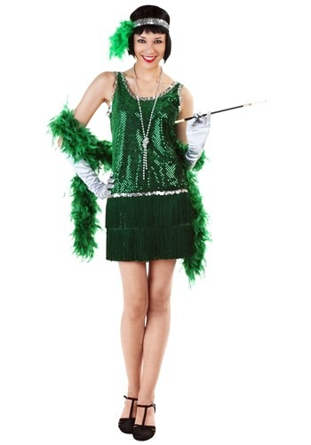 Womens Sequin & Fringe Green Flapper Costume
