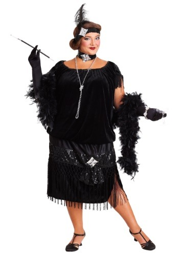 Deluxe Black Plus Size Flapper Costume