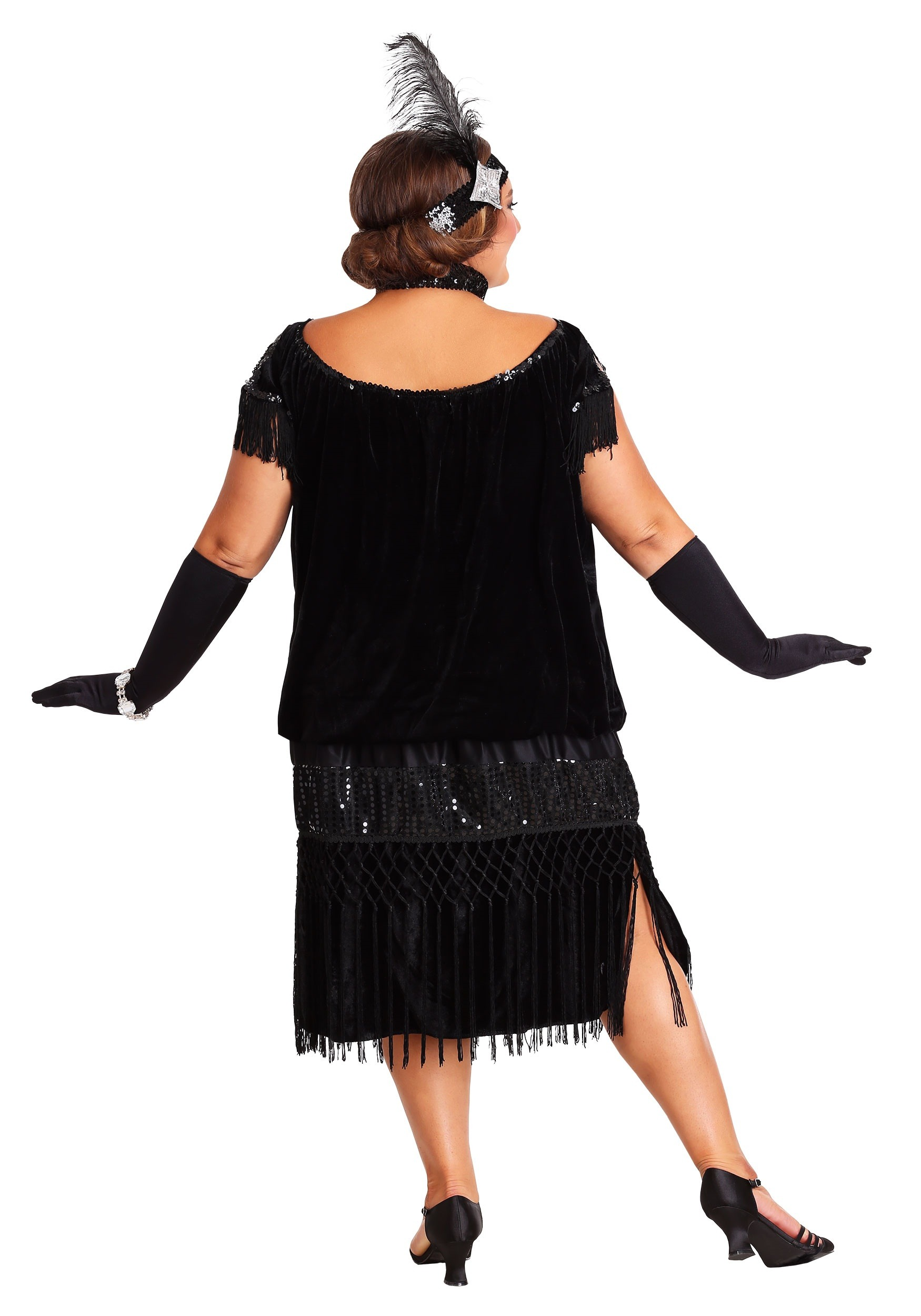Black Plus Size Flapper Costume