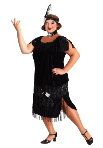 Black Plus Size Flapper 1X 2X 3X 4X 5X 6X 7X 8X