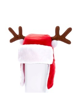 """12"""" Plush Red Adult Christmas Hat w/ Antlers1"""