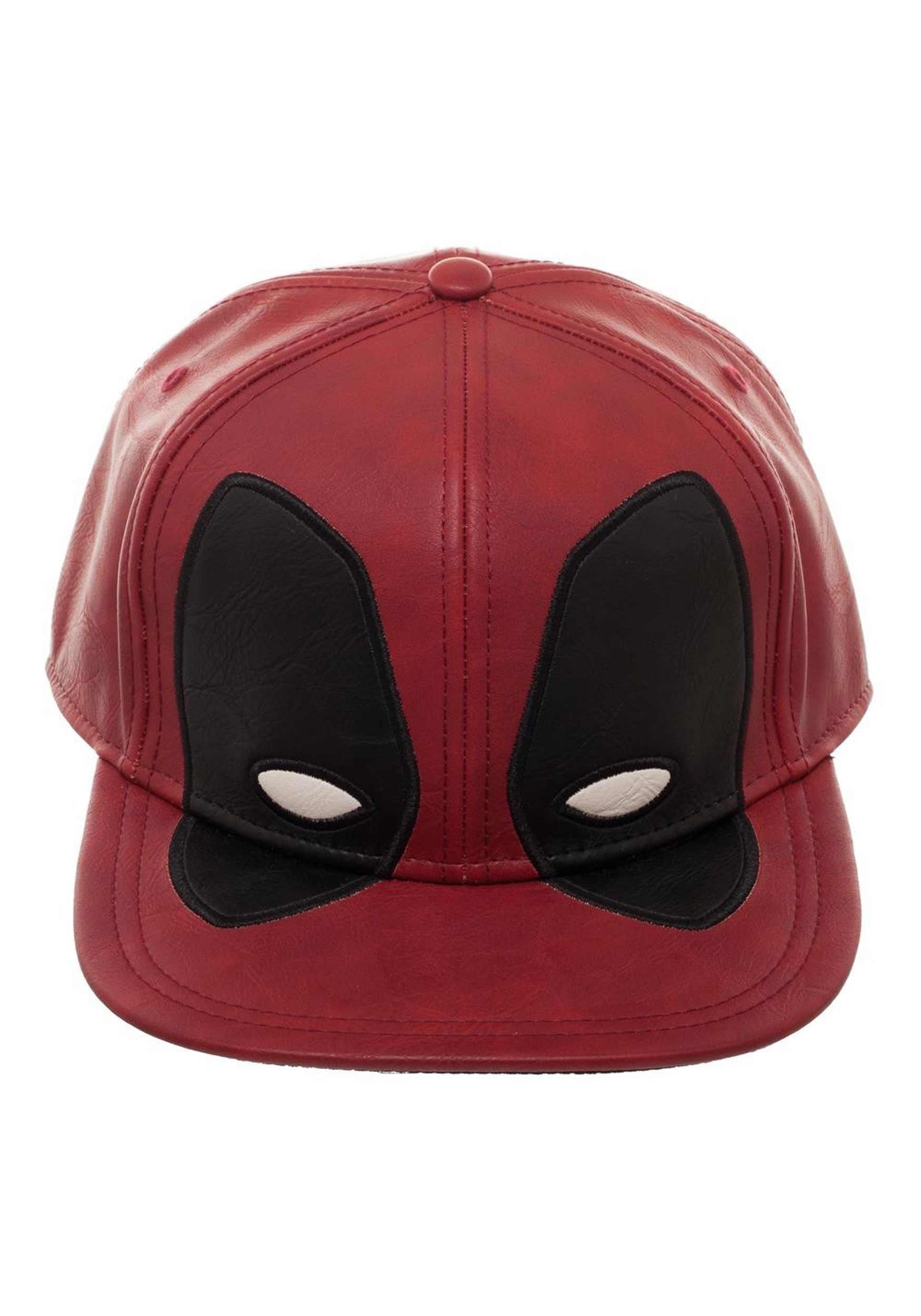 Deadpool Big Face- Distressed PU Snapback Hat 251459126194
