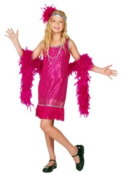 Child Fuchsia Sequin and Fringe Flapper Costume
