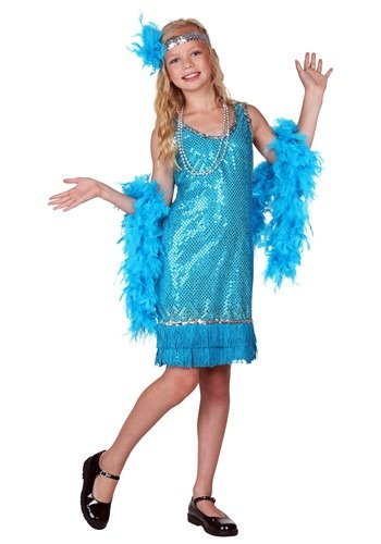 Kid's Turquoise Sequin and Fringe Flapper Costume – Size: L – Polyester