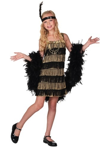 Child Gold and Black Fringe Flapper Costume